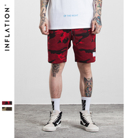 INFLATION 2017 Men S Hightstreet Casual Shorts Bamboo Cotton Men Summer Shorts Red Camouflage Hip Hop
