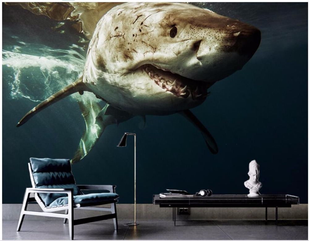 Custom mural 3d wallpaper Marine background wall of the great shark 3d wall murals wallpaper for living room walls 3 d mural children room large murals kindergarten background wall 3d wallpaper murals seamless 3d 3d wallpaper space exploration