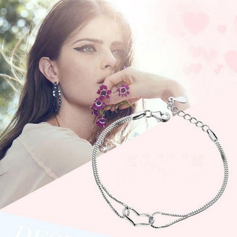 Hot Punk Pulseras Bijoux 2018 New Vintage Silver Plated LOVE Heart Bracelet For Women Chain Jewelry Charm Bracelets Bangles chain