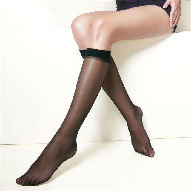 10 pairs/pack Hot Basal Silk Knee High Socks 20D/40D/70D Elastic Ultra-thin Transparent Nylon Half Stocking