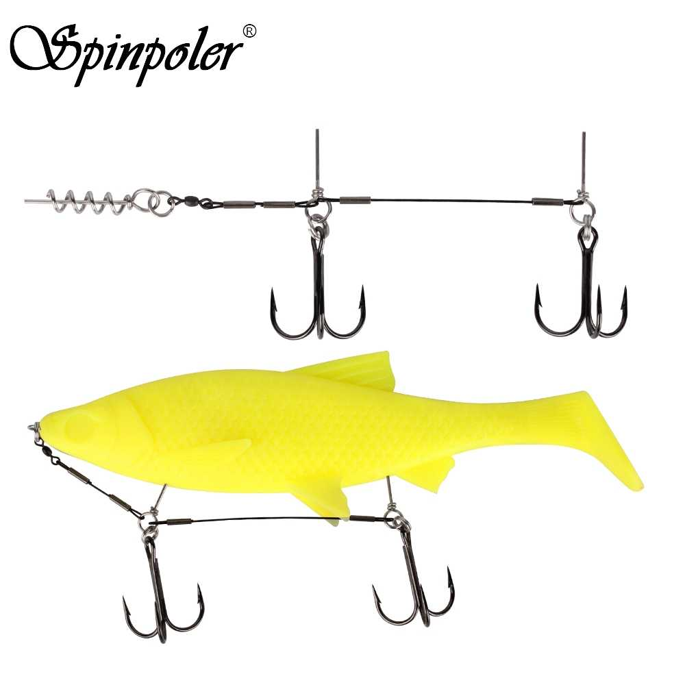 Spinpoler 1pcs Double VMC Fishing Hooks Fishing Tackle Durable Fishhooks Carp Barbed Hook Ocean River Lake For Big Soft Shad