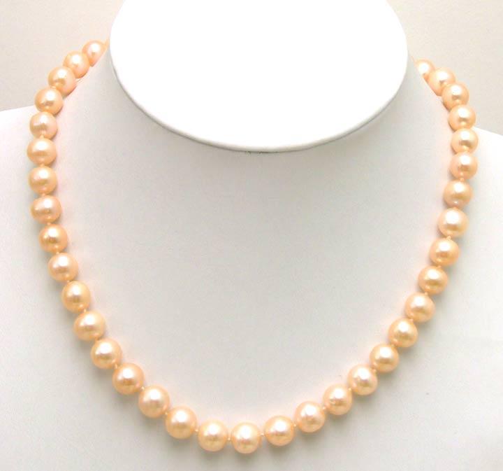 Haute Brillance! Vente AA 9-10mm collier de perles d'eau douce rose naturel avec CLASP-nec5285 GP
