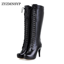 ZJVI womensSoft Genuine Leather knee high boots women Platforms Motorcycle thigh high boots European woman high Heels shoes