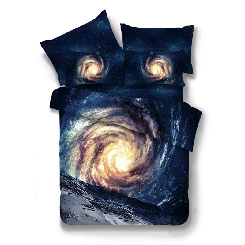 Starry Sky 3D Bedding Set Polyester Galaxy Duvet Cover Sets 2-4pcs Outer Space Bed Linens XF102-16