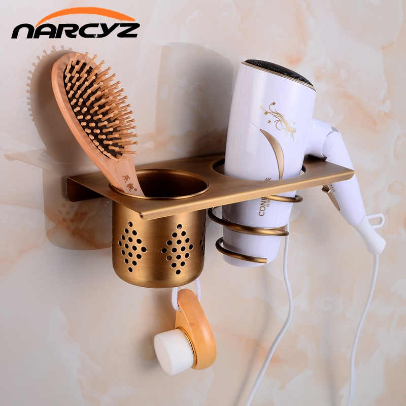 Multi-function Bathroom Hair Dryer Holder Wall Mounted Rack Antique Copper Shelf Storage Organizer Hairdryer Holder 9047K jieshalang antique copper hair dryer rack bathroom shelf hair dryer stand wall hanging holder hairdryer bathroom shelves 6835
