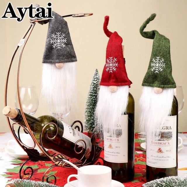 aytai 3pcs christmas gnome wine bottle cover topper greenred felt with white beard gnome - Christmas Gnome