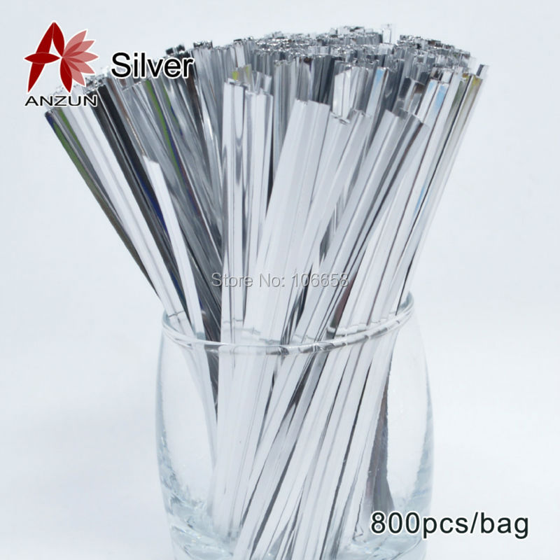 800pcs Silver Wire Metallic Twist Ties For Cello Candy Bag Steel ...