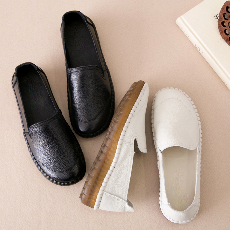 PEIPAH Handmade Retro Women Flats Shoes Genuine Leather Espadrilles Women Leather Female Flat Loafers Shoes Slip On Sneakers(China)