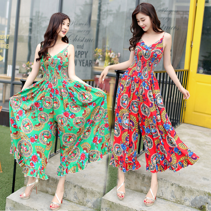 Fashion Women Jumpsuit With Wide Leg Lady allover Festival Print Jumpsuit rompers Akle length Pants NG619