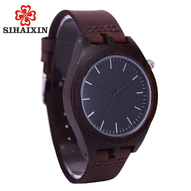 SIHAIXIN Ebony Wooden Bamboo Watch Men Vintage Leather Quartz Wood Minimalist Black Case Male Clock As Customized Gift For Lover цена 2017