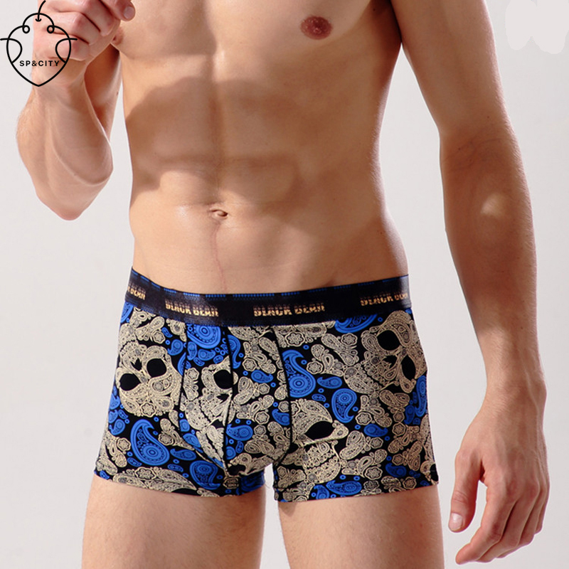 SP&CITY Fashion Skull Male Boxer Cotton Mens Underwear Pictures Sexy Gay Underwear Thermal Underwear Big Men Boxers Bulge