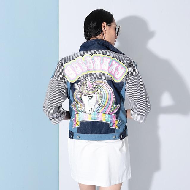 Women Wholesale 2016 Original Design Rainbow Embroidered Short Jacket Patch Stitching New Hipster Denim Jacket Women