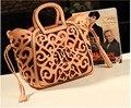 Женщины Fringe Кисточкой выдалбливают известный бренд кожа tote дизайнерские сумки сумки посыльного bolsa franja bolsos mujer 40