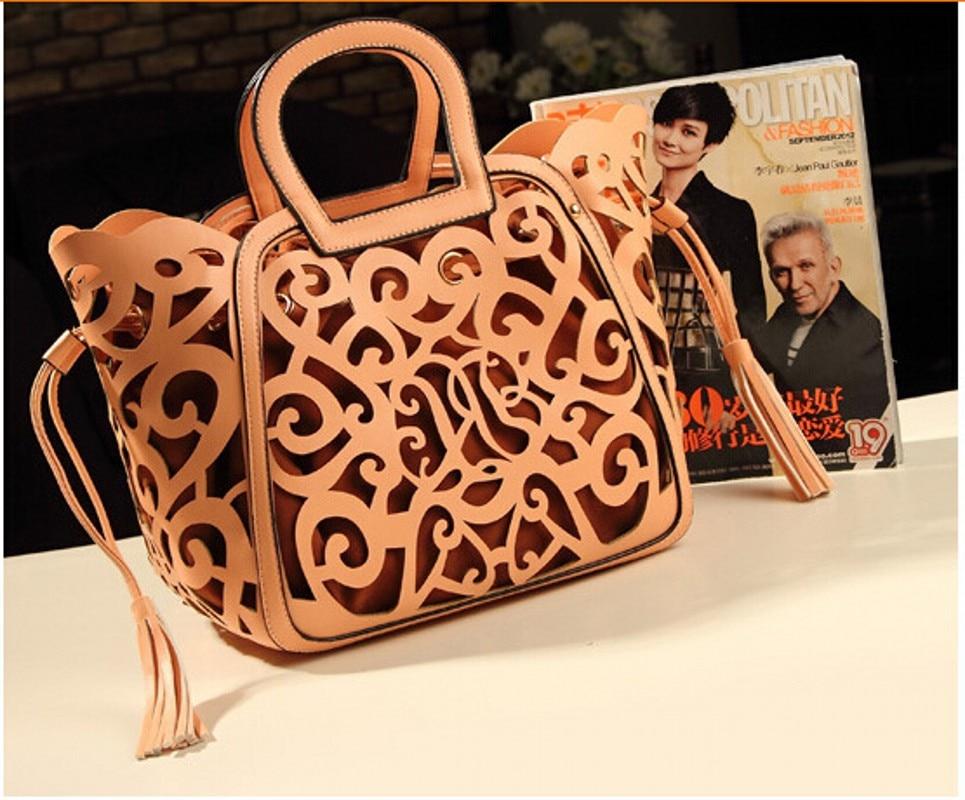 Women female Fringe Tassel Hollow out famous brand leather tote designer handbag