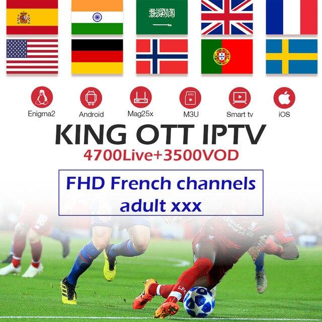King OTT IPTV subscription France Spain Arabic UK Germany Nordic Sweden Portugal IPTV M3U android tv box MAG smart tv enigma2