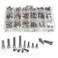 ZENHOSIT Stainless Steel M5/M6/M8 Cylinder Head Hexagon Screw Locknut Nut Bolt Washer 345PCS Kit Assortment with Box