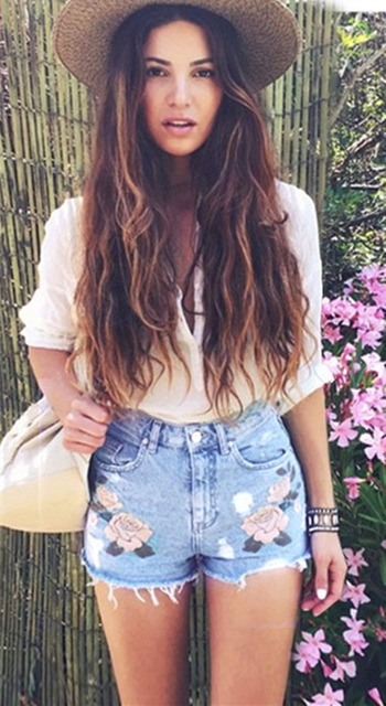 Taille haute 3D rose fleur broderie casual denim shorts pays style mignon  mince droite jeans courts bfdc4dbf7f9
