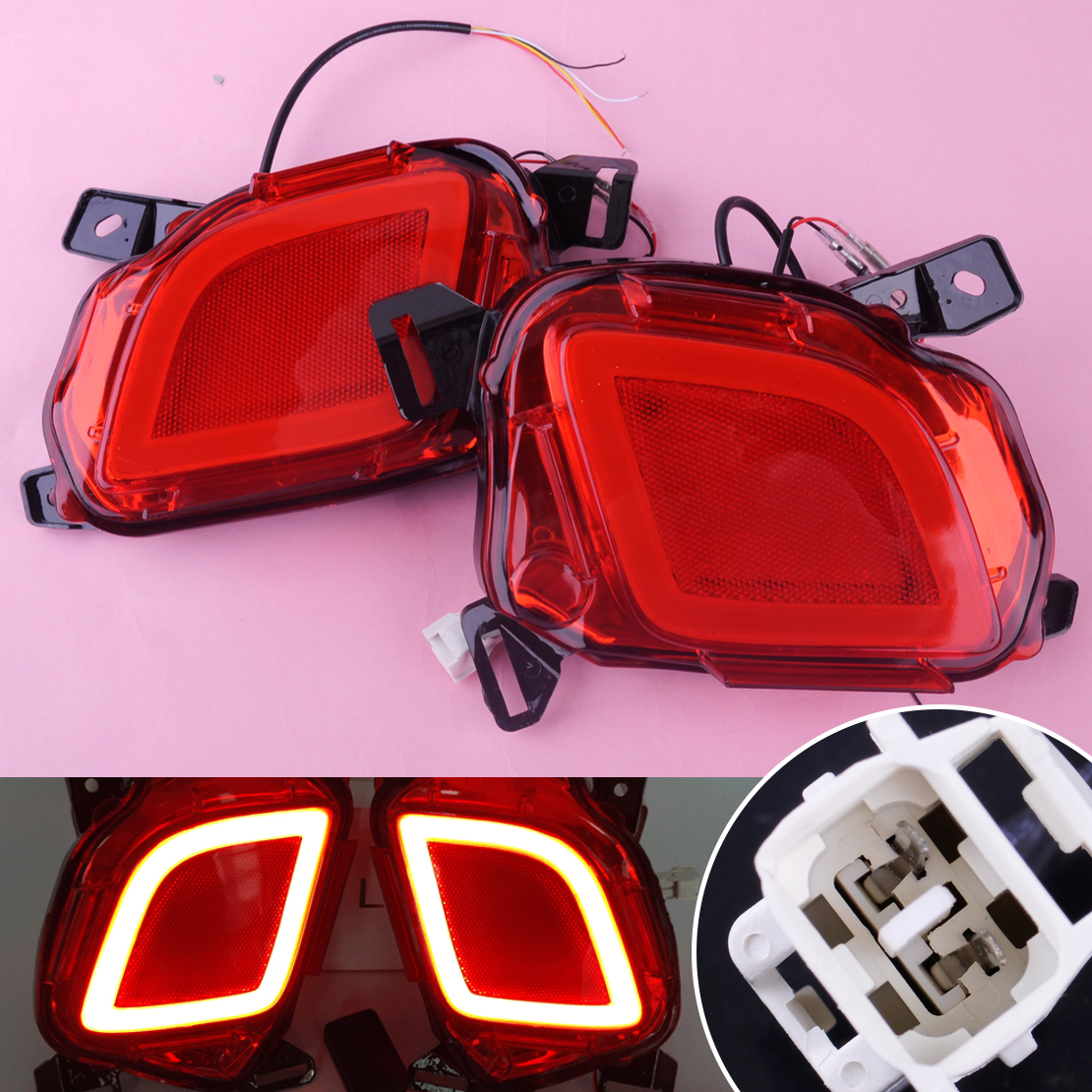 DWCX 2pcs Car 12V LED Rear Bumper Brake Tail Lights Turn Signal Lamps DRL 2 Pin Fit For Toyota Highlander 2015 2016 2017