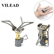 VILEAD Portable Folding Mini Camping Stove Outdoor Hiking Gas Stove Survival Furnace Stove 45 g 3000 W Pocket Picnic Cooking Gas