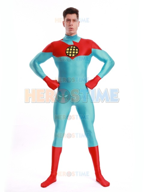 Captain Planet costume Spandex red and blue the Planeteers superhero Catsuit factory wholesale Adult/kids/custom Free Sipping