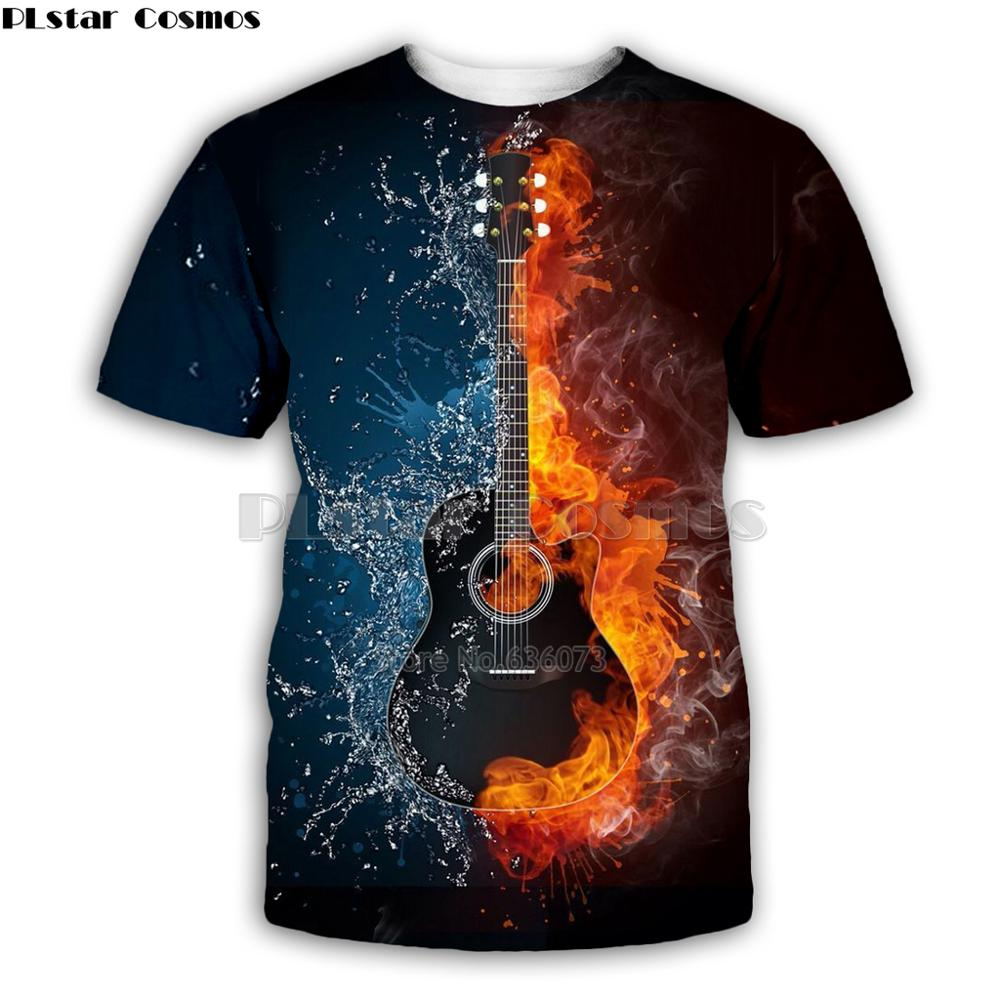Ice And  Fire Guitar Art Musical Instrument T Shirt Man 3D Print Fashion  Hip Hop Tee Style Tops Casual Tops Summer Style-5
