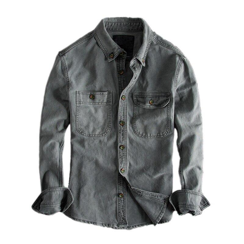 اليابانية المتناثرة خمر يؤلمها طويل كم قميص للرجال الحضرية الفتيان الشارع الشهير شطف الرجعية قمصان دنيم زائد حجم S XXL-في قمصان كاجوال من ملابس الرجال على  مجموعة 1