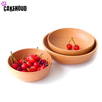CAKEHOUD Products Shelves Wooden Light Mouth Pure Wood Salad Wooden Bowl Three Sets Japanese Beech Noodles
