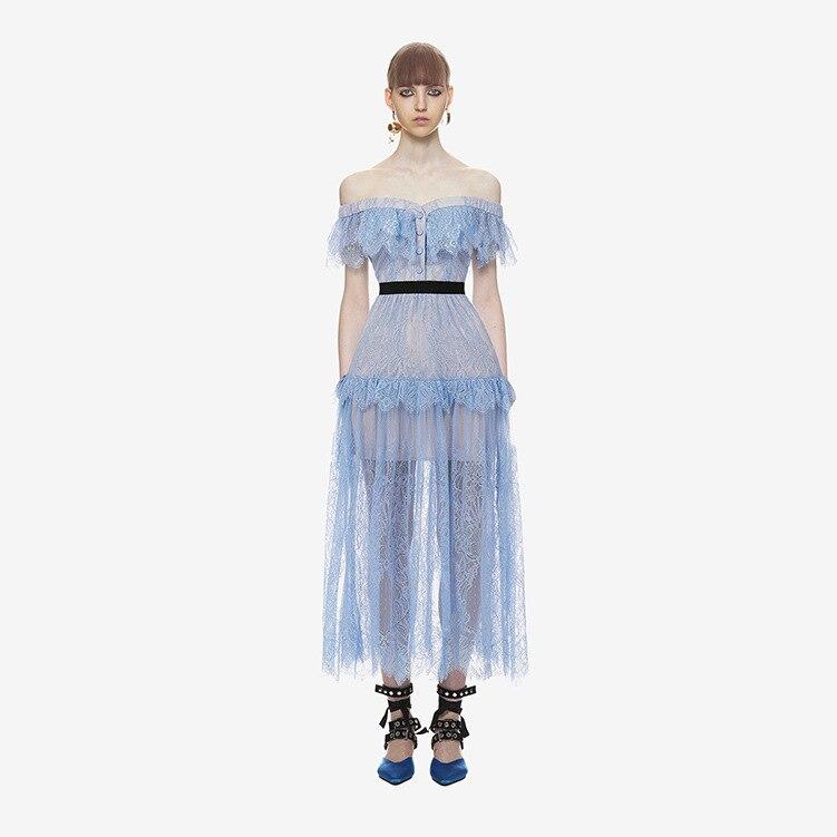 Señora E1075 Vestido Azul Marino Azul Delgada Encaje De