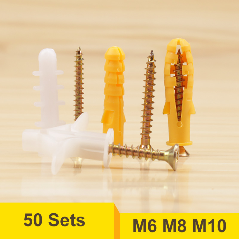 50 Sets M6 M8 M10 Plastic Hollow Expansion Nail Drywall Anchor Screws m6 m8 m10 m12 plastic expansion screws pipe