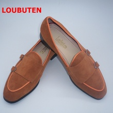 LOUBUTEN Luxury Fashion Brown Suede Loafers Men Double Monk Strap Shoes Handmade Slip On Mens Dress Shoes Flats Casual Slippers loubuten loafers men slip on suede leather shoes mens loafers with bow knot luxury dress shoes fashion men s smoking flats