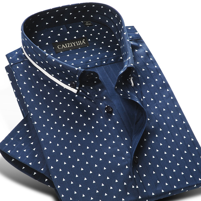 5b78398ea CAIZIYIJIA Summer 2018 Men's 100% Cotton Mini-polka Dot Pattern Dress Shirt  Short Sleeve Soft Button-down Casual Slim-fit Shirts
