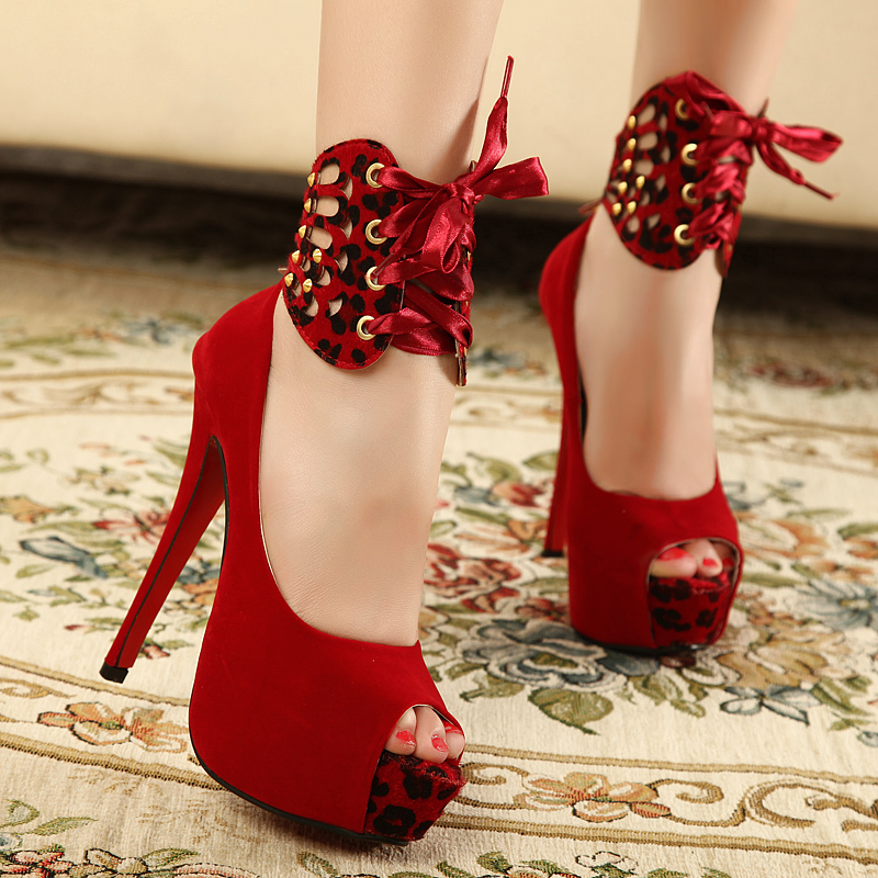 Beautiful Sexy Removeable Leopard Grain Strappy High Heels Platform Peep Toe Women  Pumps Ladies Bedroom Foreplay Flirts Shoes Size US 4 13 In Womenu0027s Pumps  From Shoes ...