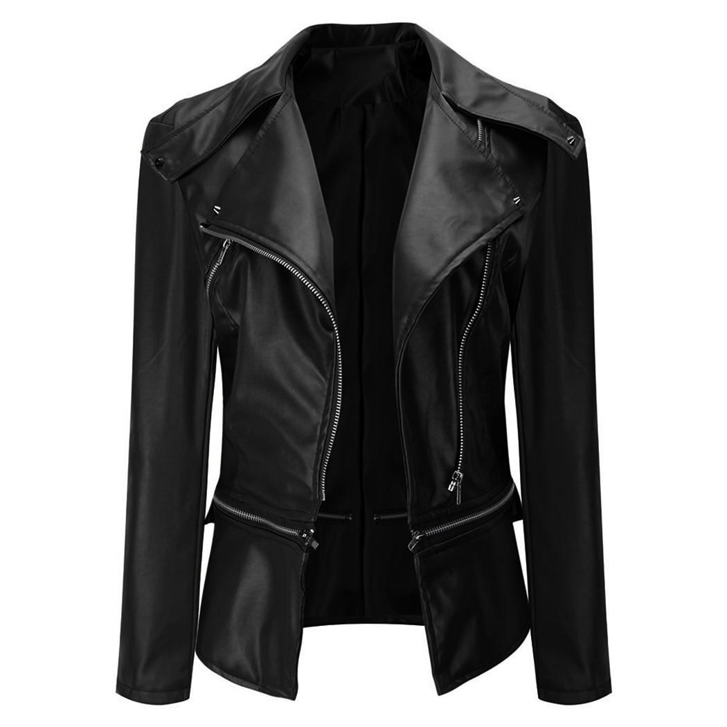 a47706179 US $19.26 20% OFF|Fashion Women Faux Leather Bomber Jacket Gothic Punk  Motorcycle Coats Biker Jackets Cool Rivet Zipper Plus Size Outwear  Female-in ...