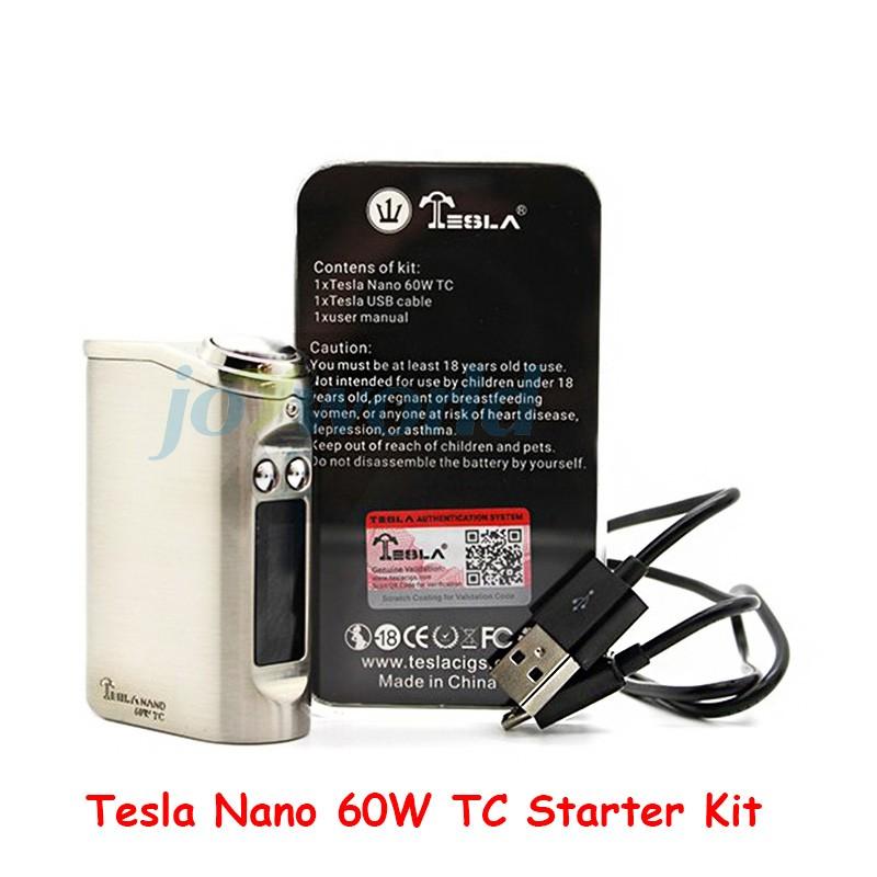 100% Authentic Tesla Nano 60W TC Box Mod Starter Kit 3600mah Battery Vapor Mod with Tornado Sub Ohm Tank vs kanger evod mega YY (2)
