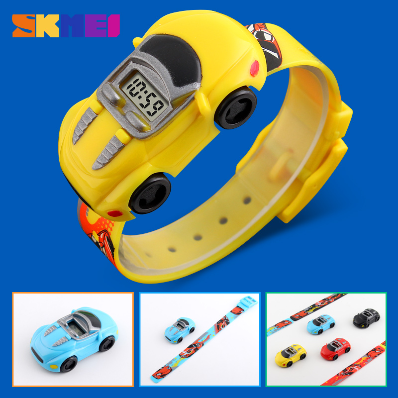 SKMEI Student Casual Watch Childrens Cartoon Creative Digital Wristwatches Kids Car Cartoon Clock For Boys Girls Montre Enfant