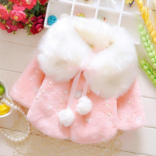 b52180bab8ad ROMIRUS 0 2 Years Fashion Baby Coat Faux Fur Thick Winter Warm Girl ...