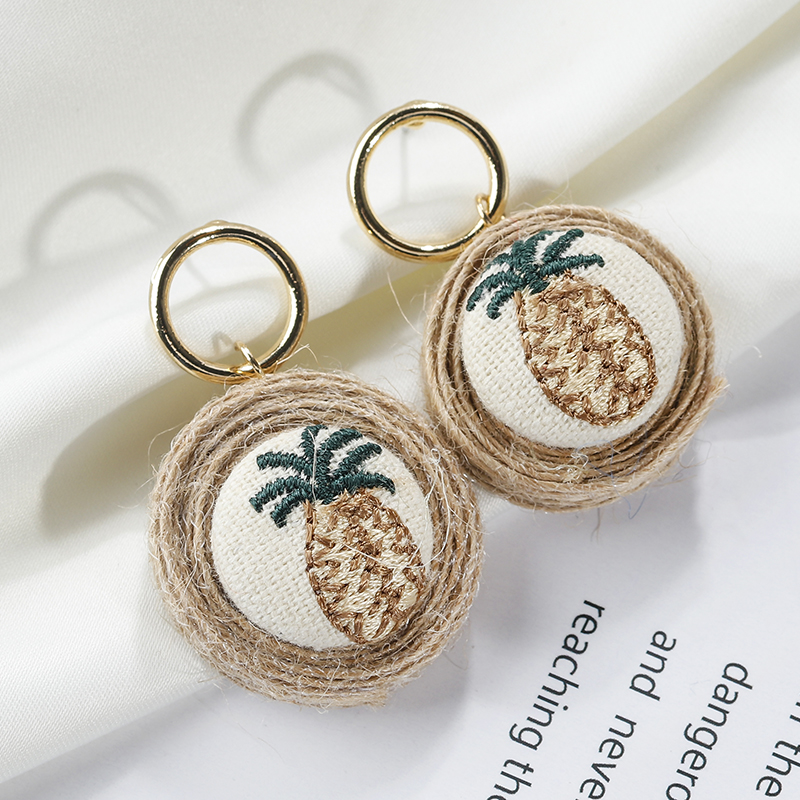 Amorcome Rattan Knit Pineapple Embroidery Drop Earrings For Women Female Bohemia Jewelry Geomtric Wedding Round Dangle Earrings Mild And Mellow Jewelry & Accessories Drop Earrings