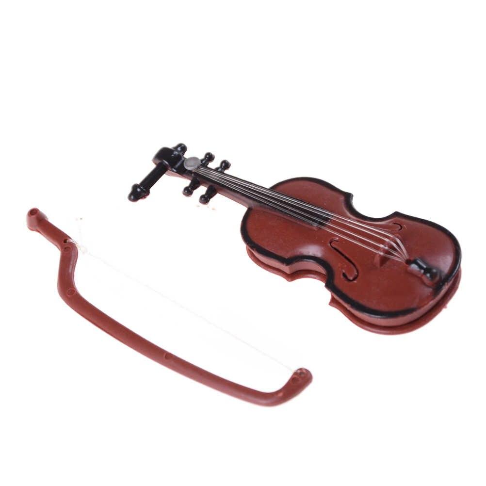 Patung-patung Plastik Mini Biola Rumah Boneka Kerajinan Alat Musik Miniatur DIY 1/12 Boneka Rumah Kayu Biola dengan Case