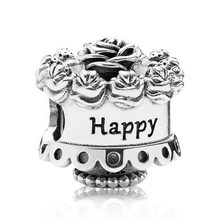d5cb016e4 100% Real 925 Sterling Silver Charms Happy Birthday Charms Fit Original  Pandora Bracelet Diy Jewelry