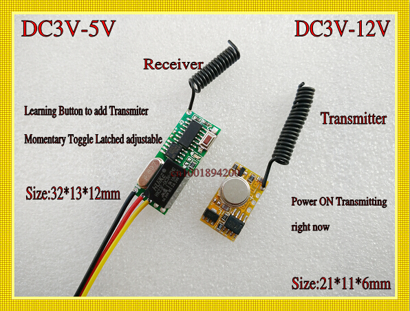 Micro Remote Control Switches DC 3V 3.7V 5V Mini Transmitter PCB DC 3V 3.7V 4.2V 5V 6V 9V 12V Power on Transmitting Learn315/433 dc3 5v dc12v mini relay receiver dc3v dc12v transmitter pcb power on transmitting 3 7v 4 5v 5v 6v 7 4v 9v 12v wireless tx rx mod