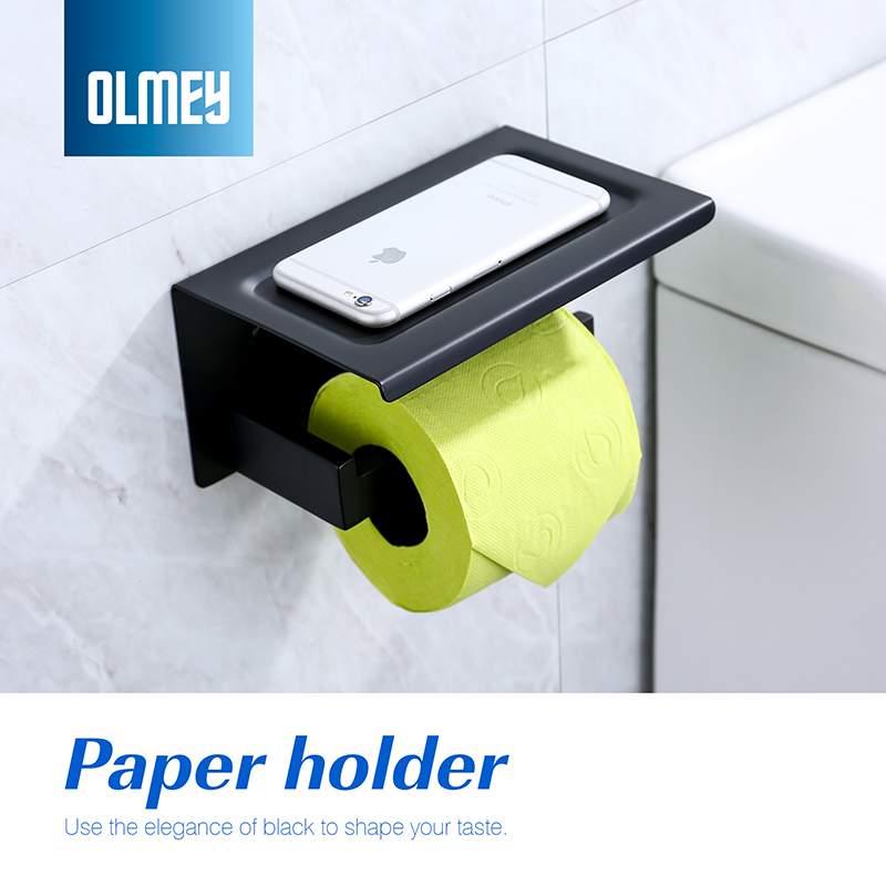 OLMEY Toilet Paper Holder Shelf SUS 304 Stainless Steel Bathroom Accessories Tissue Roll Holder with Phone