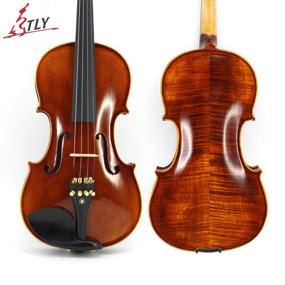 Tongling mão-ofício avançado violino óleo verniz naturel flamed bordo violino 4/4 spruce placa peças de ébano com arco caso sintonizador