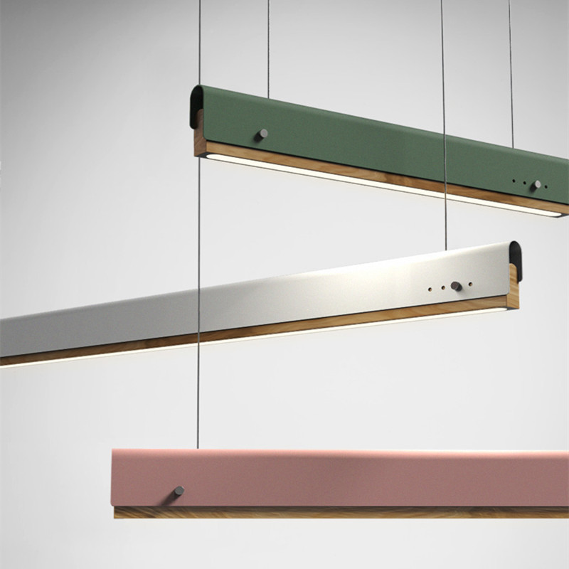 Nordic Loft Dinner Wooden Iron Led Chandelier Creative Multicolor Macaron Coffee Shop Office Dinner Hanging Light Fixtures