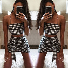 Women Summer Casual Two Piece Set Bandage Bodycon Mini Skirt Crop Top Sexy Off Shoulder Tank Fashion Plaid Printed 2