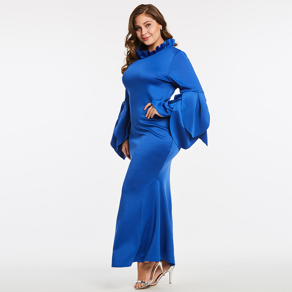 Women Patel Sleeve Party Dress Ruffle Stand Collar Trumpet Mermaid Dress 2018 Royal Blue Evening Plus Big Size Long Maxi Dress