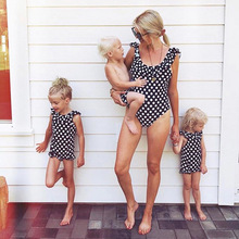 Polka Dot Bikini Mother Daughter Swimwear Family Look Mommy and Me Matching Swimsuit Outfits Mom Mum Baby Swimming Dress Clothes
