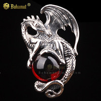 Bahamut 925 Sterling Silver Black Red Dragon King Necklace Pendant Free With Chain