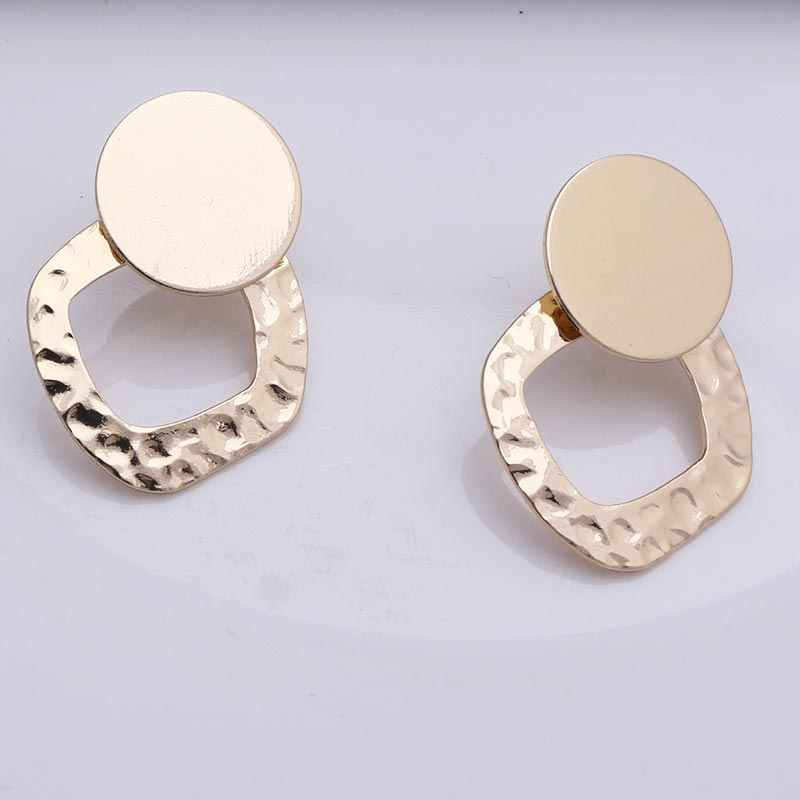Gold Earrings for Women Dangling Wedding Vintage Korean Big Hollow Metal Round Geometric Drop Earring Fashion Jewelry 2019
