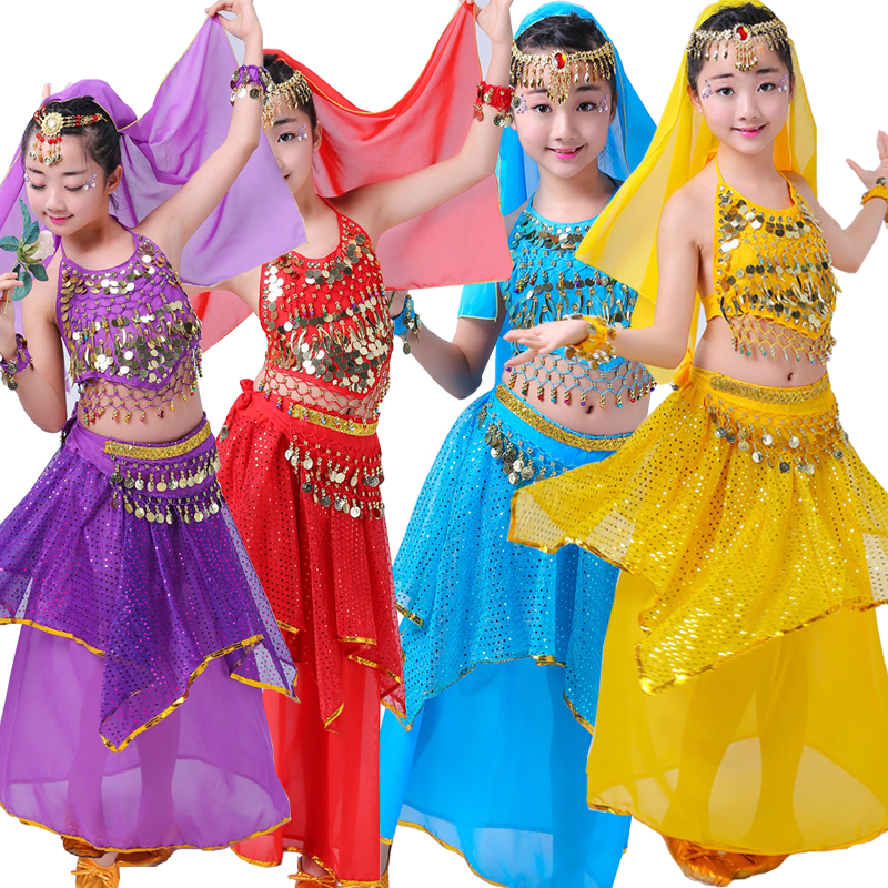7 Pieces Children Belly Dance Costume Kids Indian Dancing Dress Girls Bollywood Dancing Outfits Performance Dance Stage Wear