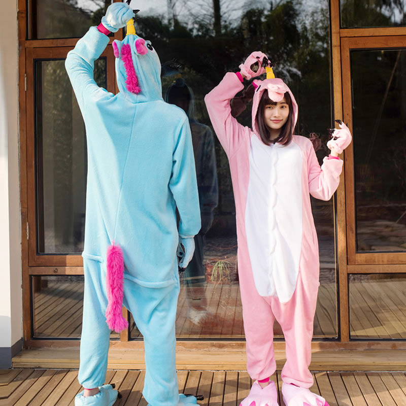 Flannel Women Winter Cartoon Unicorn Cute Pajama Sets Female Long Sleeve Lovely Sleepwear Womens Fashion Females Hooded Colorful